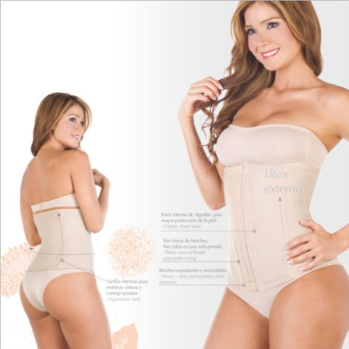 Mimosa Classic Waist Cincher Girdle, Firm Compression Shapewear, Latex, Beige, Size 22