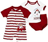 Babyworks Baby-boys Newborn 3 Piece Firefighter Romper Diaper Set, Red, 0-3 Months