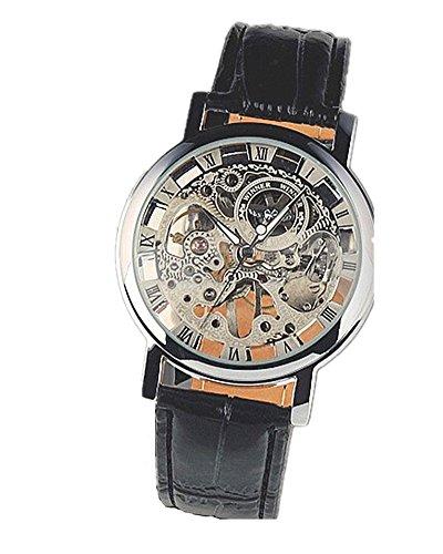DAYAN Pelle orologi di lusso Uomo Acciaio Mechanical Clock Skeleton Multi colore