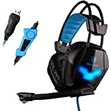 Sades A30 7.1 Surround USB Gaming Headset Headphone With Mic,Over-Ear Headset (Black+Blue)