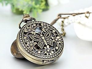 Diseño de mariposas JewelryWe Retro Reloj de bolsillo a mano media Hunter movimiento mecánico de bolsillo para colgar de viento de JewelryWe