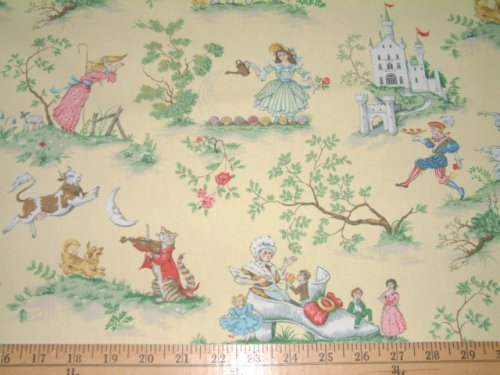 Cheap nursery rhymes covington over the moon yellow toile for Yellow nursery fabric