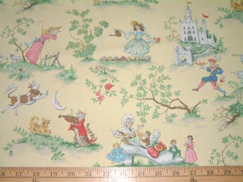 Cheap nursery rhymes covington over the moon yellow toile for Yellow nursery fabric