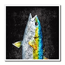 Yellowtail Fish Modern Art 14825 Custom Framed Giclee Print on Canvas Nautical Beach Fishing Design Restaurant Home Wall Interior Decoration Souvenir Gift Ideas - Black 10\