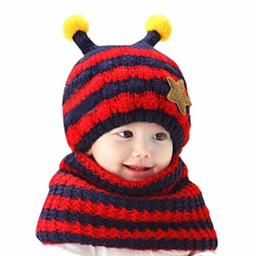 JT-Amigo Sciarpa e Berretto Cappello Invernale a maglia Bimba Bambina Disegni Ape Rosso