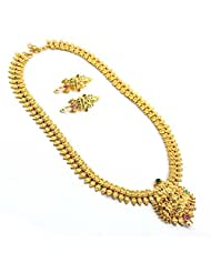 Anvi's Gold Toned Lakshmi Pendant Long Chain Studded With Emeralds And Rubies With A Gold Ball Droplet