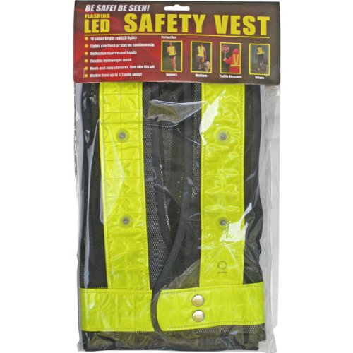 Reflective Safety Vest With 16 Led Lights - Yellow Reflective