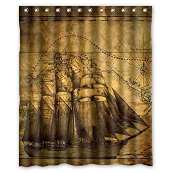 Vintage Design New Style Nautical Vintage Sailing Pirate Ship Theme Polyester Bathroom Shower Curtain 60(W)x72(H)-Inch