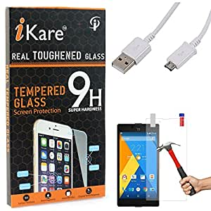 iKare Tempered Glass for Micromax Yuphoria, Tempered Screen Protector for Micromax Yuphoria + Data Sync and Charging Cable