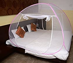 Evana Baby Safety Mosquito Net Double Kingsize Bed Foldable with Soft Mesh and 2 Side Zipper Opening Doors (200x200cm)