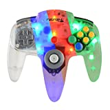 Retro-Link Wired N64 Style USB Controller with Blue/Red/Green LED On-Off Switch and Dimmer