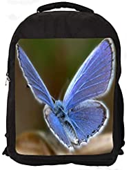 """Snoogg Light Blue Butterfly Casual Laptop Backpak Fits All 15 - 15.6"""" Inch Laptops"""