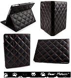 Bear Motion for iPad 4 - Luxury 100% Full Grain Genuine Top Layer Buffalo Hide Vintage Leather Case for iPad 2 / iPad3 / iPad 4 with Retina Display - (Diamond Vintage Black)