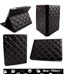 Bear Motion ® Luxury 100% Full Grain Genuine Top Layer Buffalo Hide Vintage Leather Case for iPad 2 / iPad3 / the New iPad built-in Stand for Apple Ipad 3 (Latest Generation) Tablet - (Diamond Vintage Black)