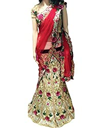 Suchi Fashion Beige Heavy Embroidered Net & Satin Semistitched Party Wear Lehenga Choli
