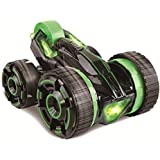 KAWO 5 Wheeled Remote Control 2-sided Extreme High Fastest Mini Speed Tumbling Action Stunt Race Car with Lights-Green