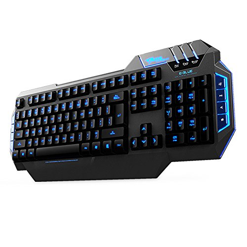 E-Blue E-3Lue Mazer Type-X Adjustable Backlit Usb Wired Gaming Keyboard 104+8 Multimedia Function Keys