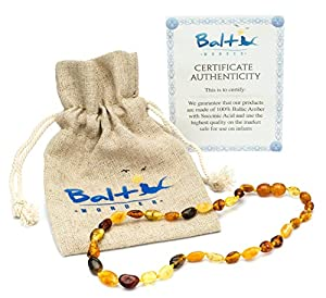 Amber Teething Necklace for Babies (Unisex) - Anti Flammatory, Drooling & Teething Pain Reduce Properties - Certificated Natural Oval Baltic Jewelry with the Highest Quality Guaranteed. Easy to Fastens with a Twist-in Screw Clasp Mothers Approved Remedies
