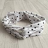Twist cinta, diseño de puntos, color blanco con lunares blancos, color negro