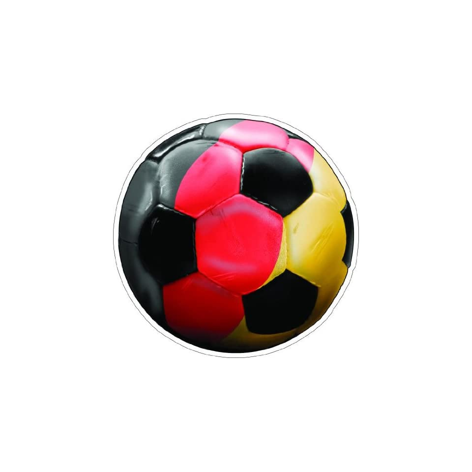 2 GERMANY SOCCER BALL Printed engineer grade reflective vinyl decal sticker for any smooth surface such as windows bumpers laptops or any smooth surface.