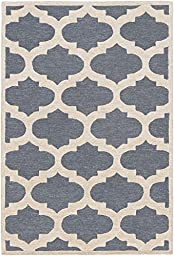 Blue Geometric Trellis Rug Contemporary 2-foot 3-inch x 12-foot Handmade Wool Carpet