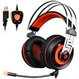 SADES A7 7.1 Virtual Surround Sound USB Gaming Headset and Noise Cancelling Vibration Headphones with Microphone LED Light for Laptop PC (Black&Orange) (Color: Black, Orange)