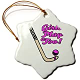 3dRose orn_116321_1 Girls Play Too Pink Field Hockey Stick and Ball Sports Design Snowflake Porcelain Ornament, 3-Inch