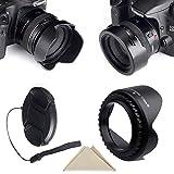 Pasway Reversible Lens Hood Set (Tulip Flower Lens Hood + Center Pinch Lens Cap with Cap Keeper Leash + Premium Microfiber Lens Cleaning Cloth) for Canon Nikon Sony DSLR (52mm)
