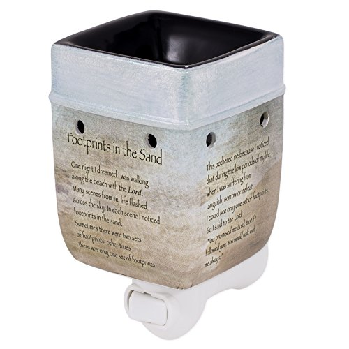 Footprints in the Sand Ceramic Stoneware Electric Plug-in Outlet Wax and Oil Warmer