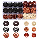 Assorted Round Wood Wooden Buttons Black Brown Beige 4 Hole Mixed Sewing Art DIY Craft Supplies Kits with Box 118pcs (Color: Round)