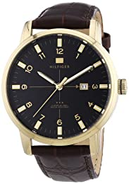 Tommy Hilfiger George Men's Quartz Watch with Black Dial Analogue Display and Brown Leather Strap 1710329