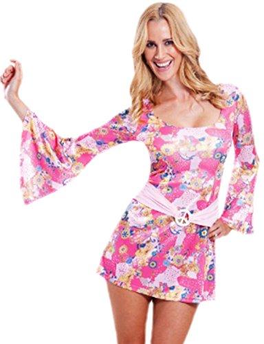 erdbeerloft damen hippi kost m minikleid flower power karneval fasching bunt 38 rosa. Black Bedroom Furniture Sets. Home Design Ideas