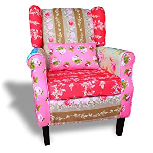 Patchwork chair relax wing armchair multi colored settle for Ohrensessel patchwork