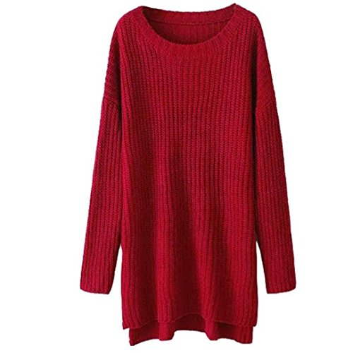 Fheaven Womens Batwing Sleeve Loose Knit Long Pullover Sweater (Red)