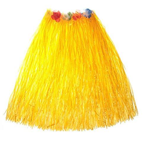 Women's Hawaiian Grass Skirt Flower Hula Lei Garland Fancy Dress Costume (Yellow)