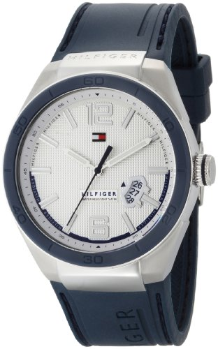 Tommy Hilfiger Men's 1790727 Sport Logo Embossed Stainless Steel Blue Silicon Watch