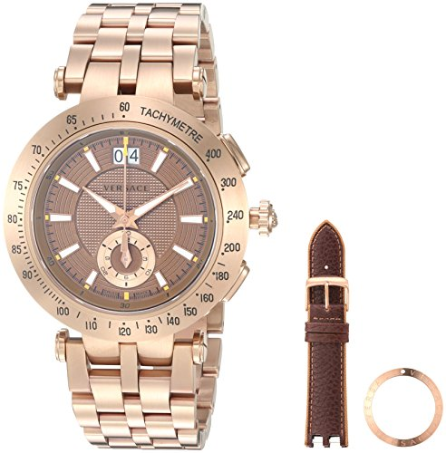 Versace-Mens-V-Race-Swiss-Quartz-Stainless-Steel-Casual-Watch-ColorBronze-Toned-Model-VAH060016