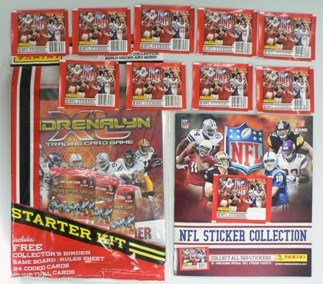 2010 Panini NFL Football Collectors Special Package!! 2010 Panini Adrenalyn NFL Starter Kit including Huge 9 Pocket Sheet Binder and 24 Adrenalyn Cards! PLUS this Amazing package features a Huge 72 Page Panini NFL Sticker Album and 80 Panini NFL Stickers! Also Included are Special Limited Edition Bonus Jumbo Cards of 2010 NFL Hall of Famer's Jerry Rice and Emmitt Smith!!