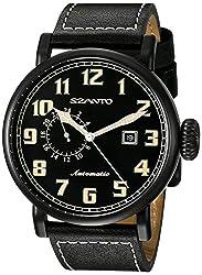Szanto Mens SZ 6101 Aviator Automatic Analog Display Japanese Automatic Black Watch