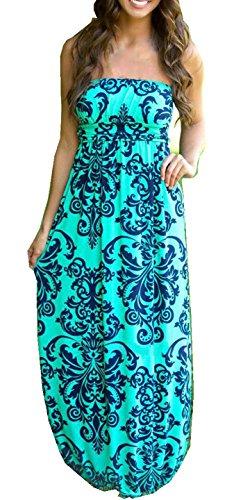 Strapless Maxi Dress Vintage Floral Print, Blue, Small