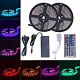 Daisen tech 2x5M(32.8ft)600LEDs Waterproof Flexible Color Changing RGB SMD5050 LED Strip Lights Kit (Multi-colored)
