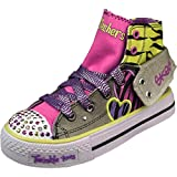 Skechers Girls Shuffles - Wildlights Charcoal/Multi Fashion Sneakers Thumbnail Image