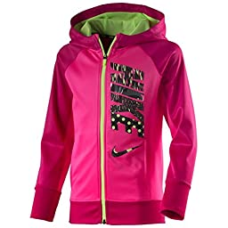 Nike Girls\' KO 3.0 Therma-Fit Full-Zip Hoodie (Pink/Green) (Medium)