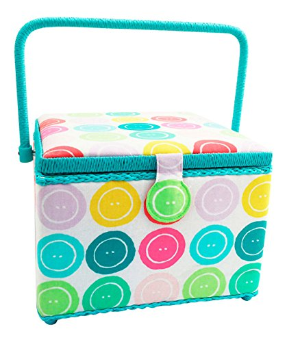 "Dritz St. Jane Sewing Basket Large Square (10.5"" L x 10.5"" W x 7.75"" H); Bright Buttons in Rose, Turquoise & Green"