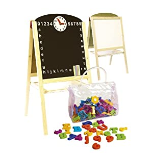Double Sided Black and White Board Table Easel with Magnetic Letters.