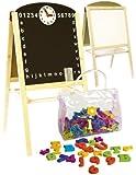 Leomark Standkindertafel Schreibtafel Maltafel Kindertafel Standtafel Holz + ZUBEHÖR magnetisch 104 Teile