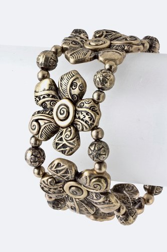 Trendy Fashion Jewelry Metal Flower Bead Bracelet By Fashion Destination | (Antique Gold) front-824166