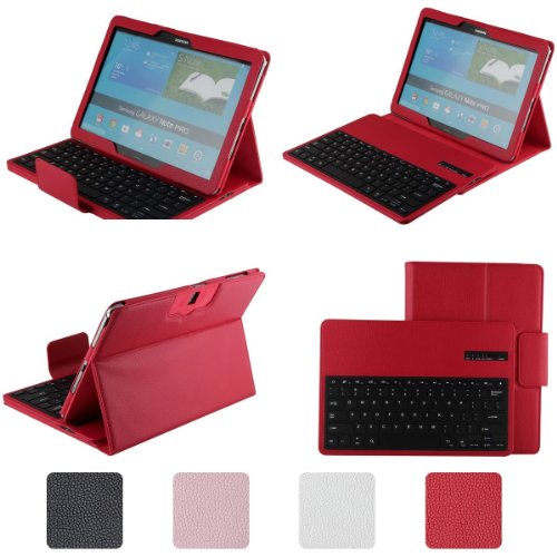Supernight Samsung Galaxy Note Pro & Tab Pro 12.2 Keyboard Case - Detachable Romovable Bluetooth Keyboard Stand Case / Cover For Samsung Galaxy Note Pro & Tab Pro 12.2 Inch Sm-T900 / T905 Tablet - Red