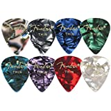 Fender 351 Shape Classic Thin Celluloid Picks, 12 Pack, Blue Moto