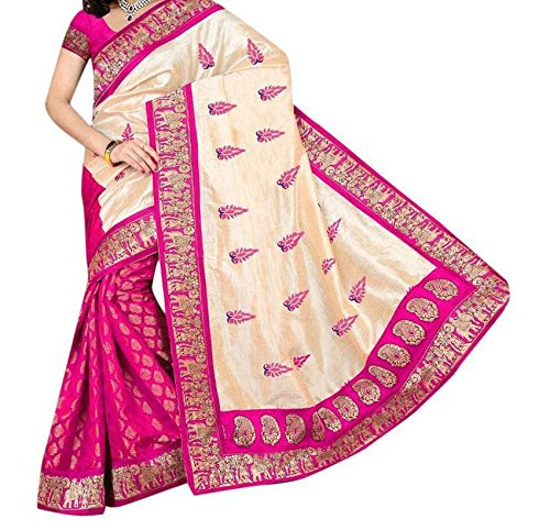 Sai Fab Women's Branded Indian Style Bhagalpuri Silk Pink Printed Elegant Saree With Blouse Piece ( Best Present For Mom, Sister, Wife, Friend, Girl Friend )  available at amazon for Rs.339